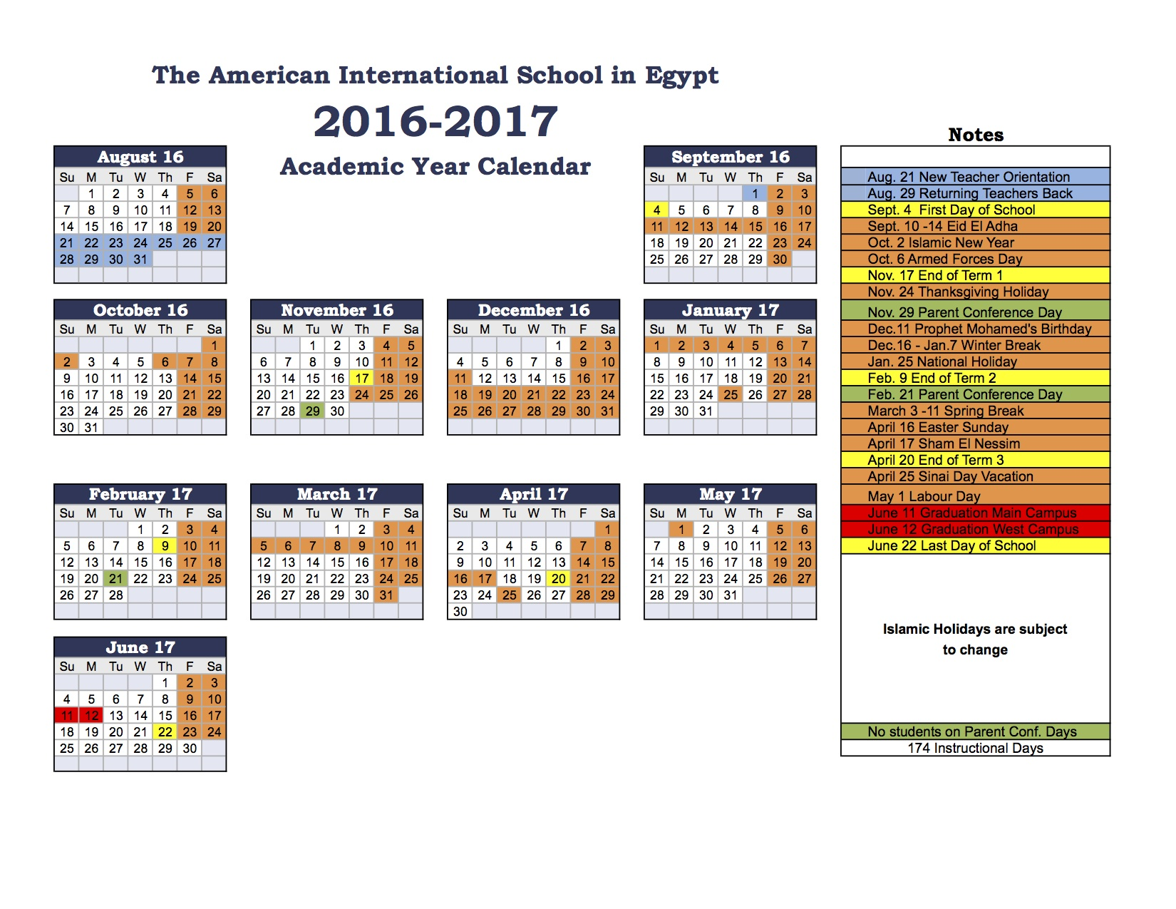 american international school of egypt 2016 2017 school calendar